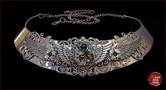 collier steampunk necklace silver wings mecanical winged clockwork watchwork