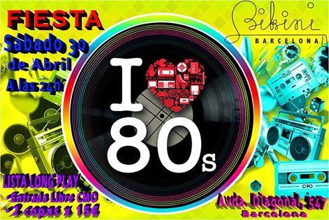 Flyer Fiesta I Love 80s en Sala Bikini