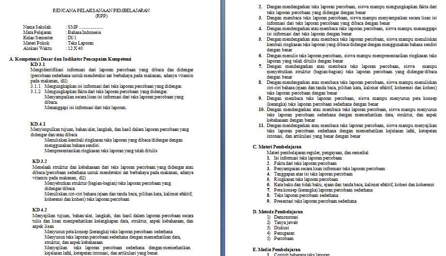 Rpp Bahasas Indnesia Kls 8 K 13 Revisi