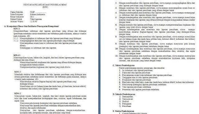 rpp k13 revisi 2017 bahasa indonesia kelas 9 smp mts (teks laporan)