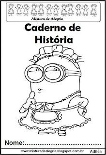 Capa para caderno história Minions