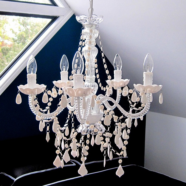 beautiful white 5 light chandelier crystals ideas