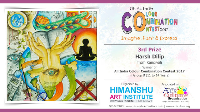 3rd Prize Winner Harsh Dilip from Kandivali in All India National Level Painting Competition for Kids