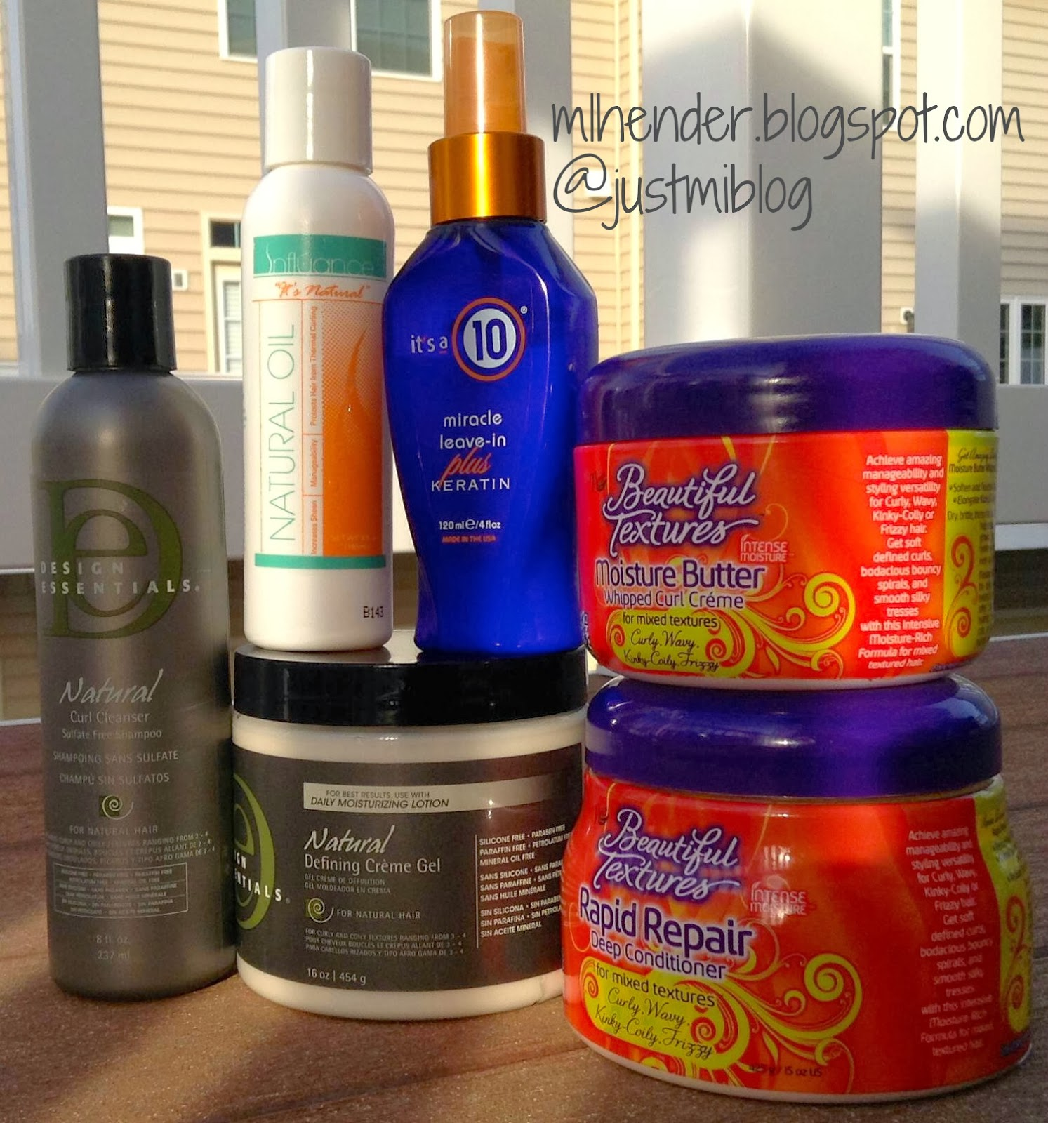 Products I used on my natural hair for a flexi rod set.