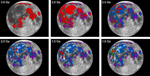 A time sequence of lunar mare -- lava plain -- flows in 0.5 billion year time increments, with red areas in each time step denoting the most recently erupted lavas. The timing of the eruptions, along with how much lava was erupted, helped scientists determine that the Moon once had an atmosphere and that the lunar atmosphere was thickest about 3.5 billion years ago. Credits: NASA/MSFC/Debra Needham; Lunar and Planetary Science Institute/David Kring