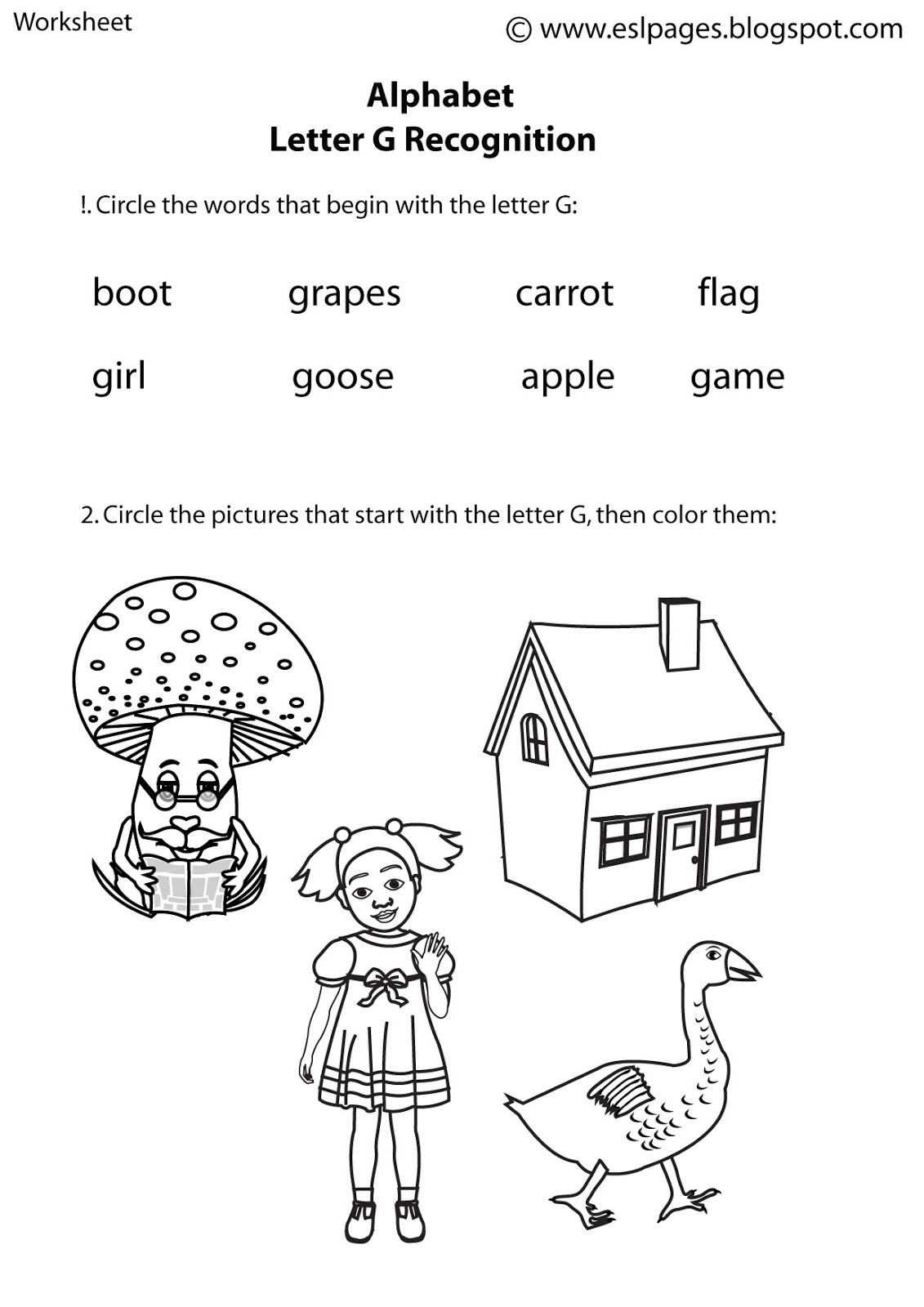 Galaxy G Worksheet For Preschool