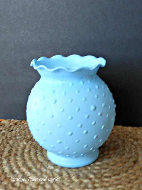 Vintage, Paint and more... finished faux DiY blue hobnail glass from Dollar Tree vase