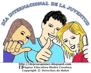 Dibujo del Día Internacional de la Juventud a colores