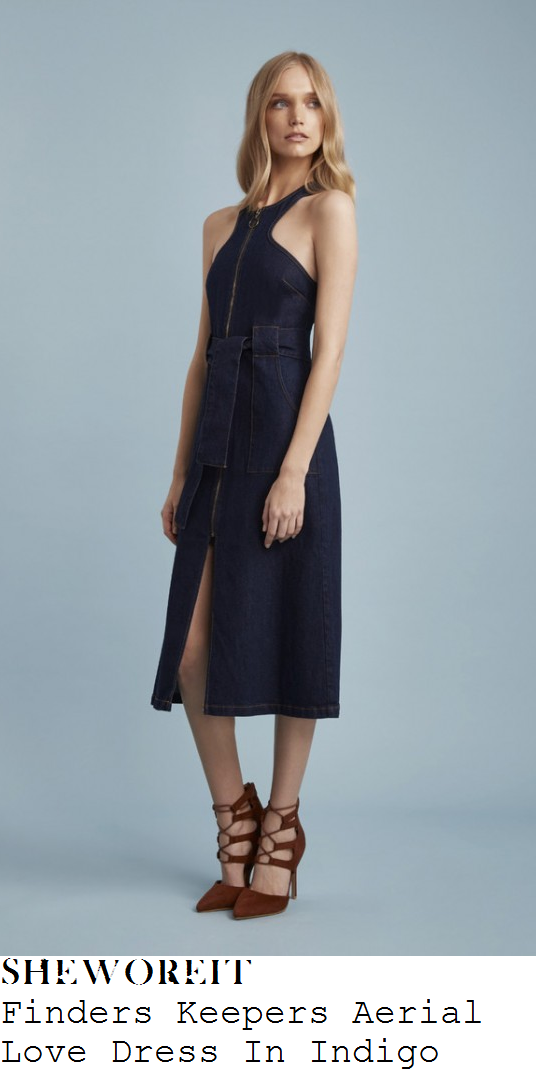 ferne-mccann-dark-blue-sleeveless-zip-front-high-neck-belt-pocket-detail-split-front-denim-midi-dress-this-morning