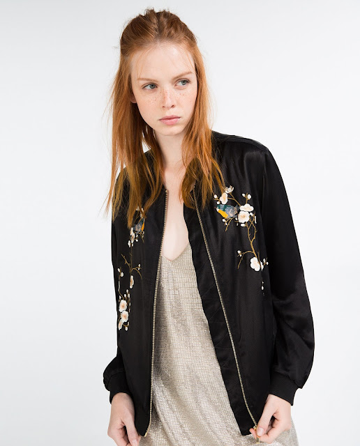 zara embroidered bomber jacket, flower embroidered bomber jacket,