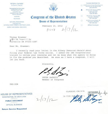 A letter from Congressman Peter DeFazio responding to my my IRS ADA complaint