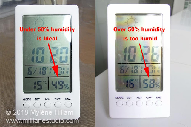 Two digital temperature gauges, side by side: one showing 49% humidity which is ideal. The other is 58% humidity which is starting to get too high for casting polyurethane resin.