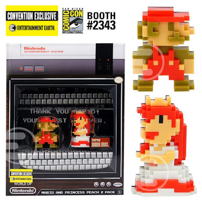 San Diego Comic-Con 2017 Exclusive World of Nintendo Super Mario & Princess Peach 8-Bit Mini Figure 2 Pack by Jakks Pacific x Entertainment Earth