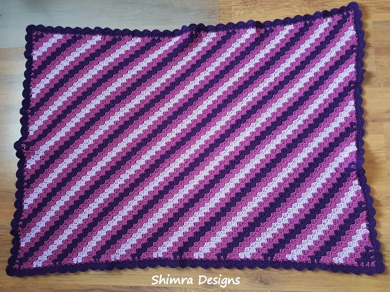 Shimra Designs C2c Crochet Baby Blanket In Purple