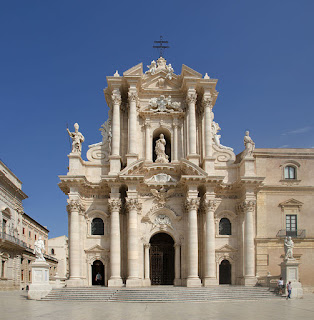 The facade of the cathedral at Syracuse, which was  rebuilt by Andrea Palma in Baroque style