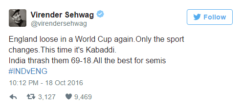 Virender Shewag Tweet on England in World Cup