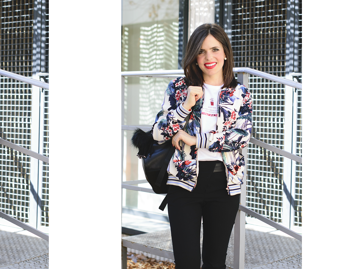 Look con bomber de flores de Zara