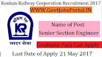 Konkan Railway Corporation Limited Recruitment 2017– Senior Section Engineer