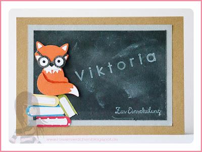Stampin' Up! rosa Mädchen Kulmbach: Einschulungskarte mit Fuchsstanze, Wortfenster und Eins für alles