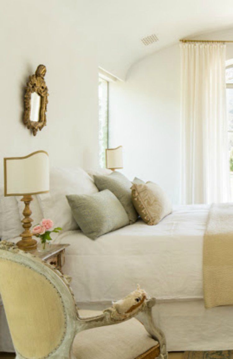 Romantic feminine and timeless design in French Farmhouse style bedroom on Hello Lovely Studio