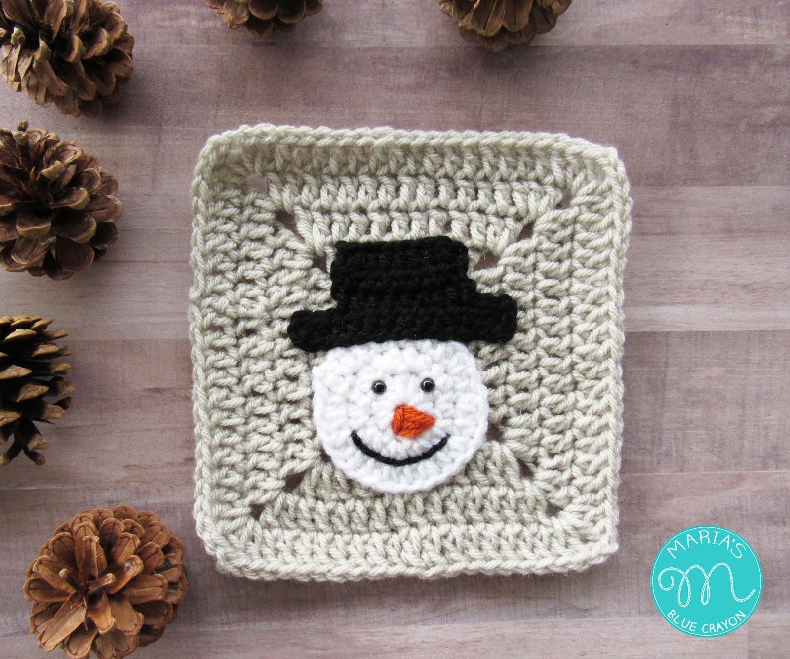 WEEK 2 - Christmas Granny Afghan CAL - Snowman - Maria\'s Blue Crayon