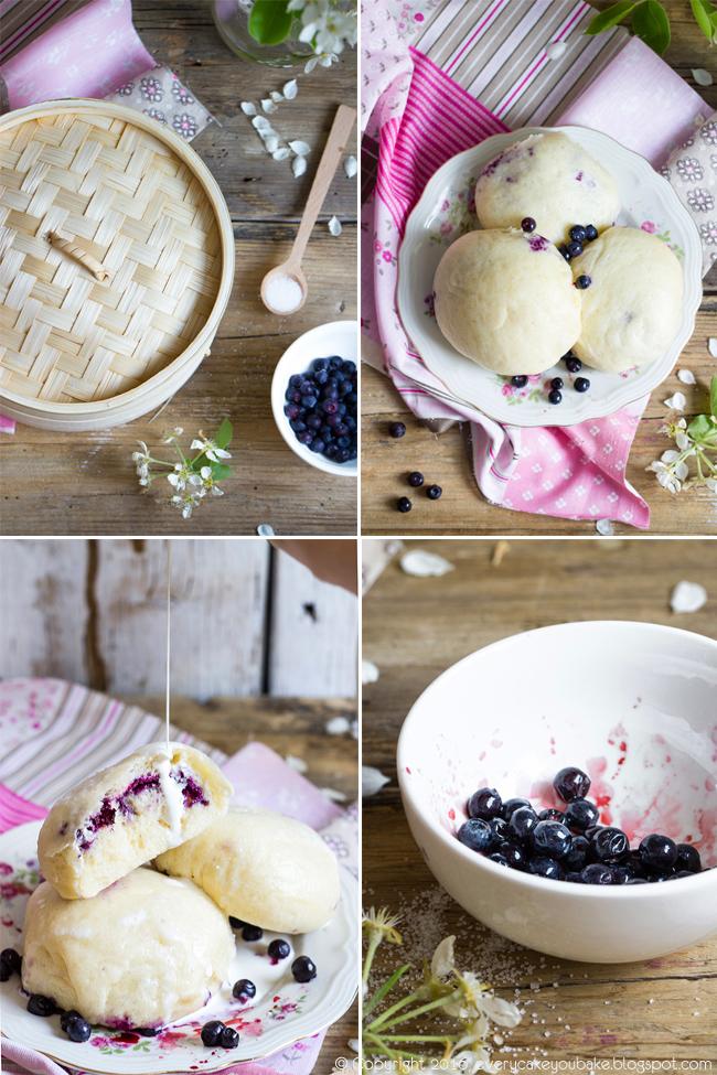 pampuchy z jagodami gotowane na parze