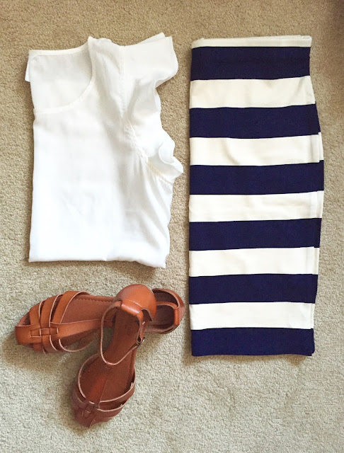 Flutter sleeve top + striped skirt