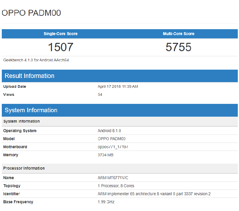 Alleged Geekbench score of OPPO A3
