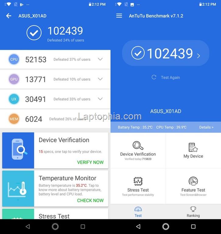 Benchmark AnTuTu v7.1.2 Asus Zenfone Max M2 ZB633KL