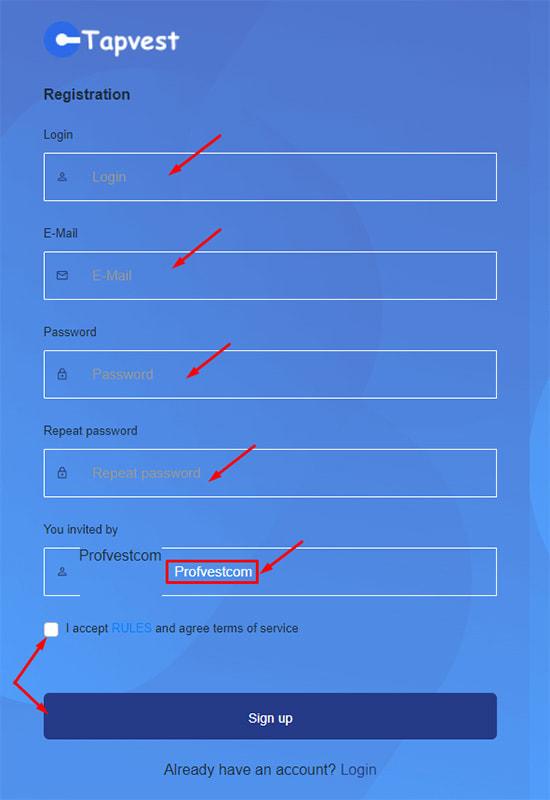 Регистрация в Tapvest 2