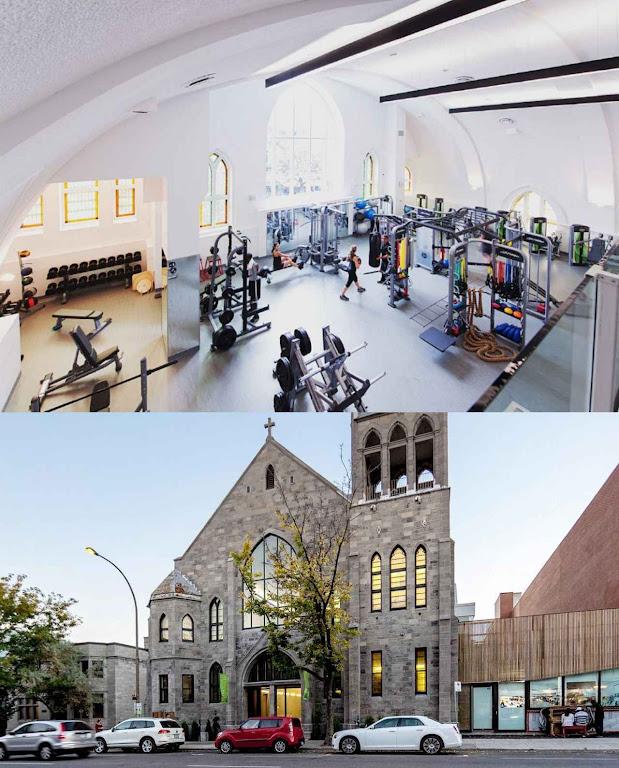 A igreja de São Judas Tadeu em Montreal transformada em academia, interior e exterior