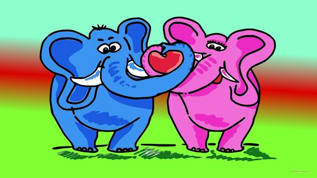 HD wallpaper met twee verliefde olifanten.