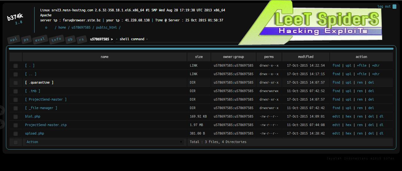 Backdoor] B374K - webshell PHP functions | LeeT_SpiderS (LS