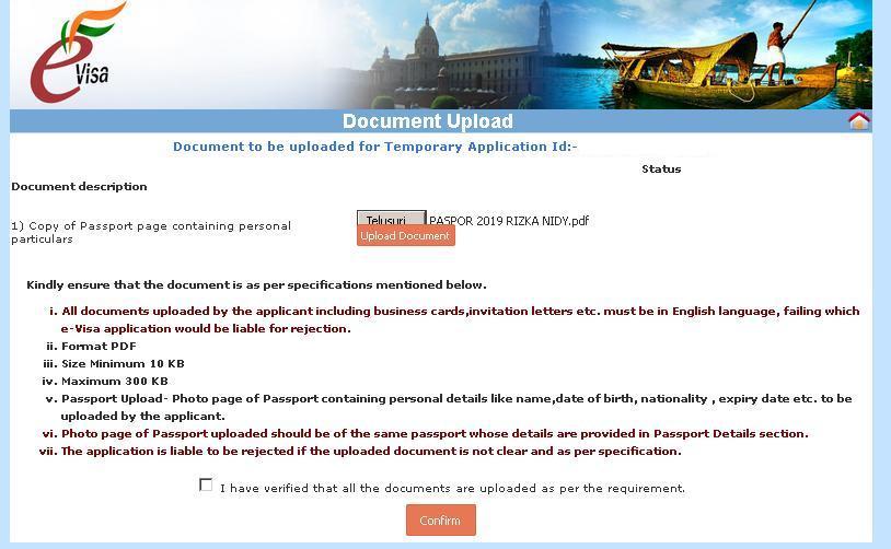 cara membuat e visa india