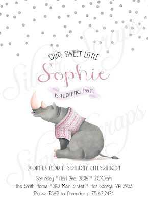 Silver Glitter Confetti and Rhinoceros Custom Girl's Birthday Party Invitation - Grey gray Rhino Pink Peach Lavender White Matching Back Side sprinkles polka dots purple fuscia salmon banner watercolor hand painted glitter safari zoo jungle animal circus kids children's joint