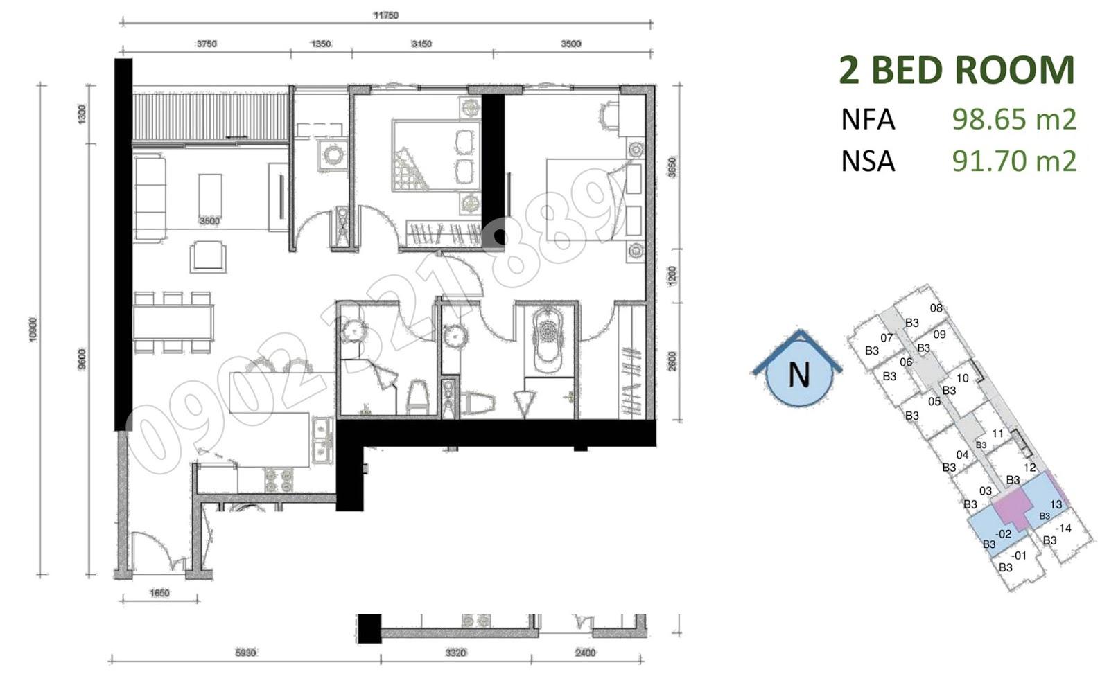 mặt bằng căn hộ sunwah pearl 2 phòng ngủ B3-02 và B3-13