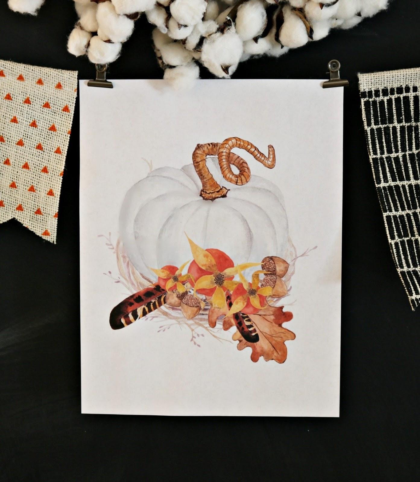 White pumpkin fall printable