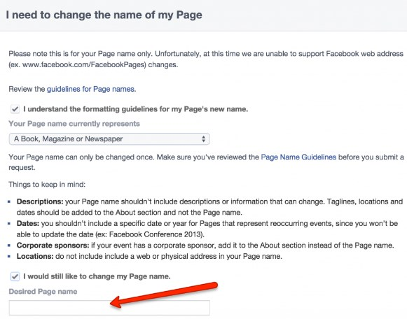 how to change facebook business page name