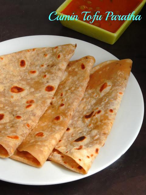 Cumin Tofu Paratha, Tofu Paratha with Cumin Seeds