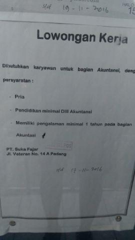 Lowongan Kerja di Padang – PT.Suka Fajar – S1 Akuntansi
