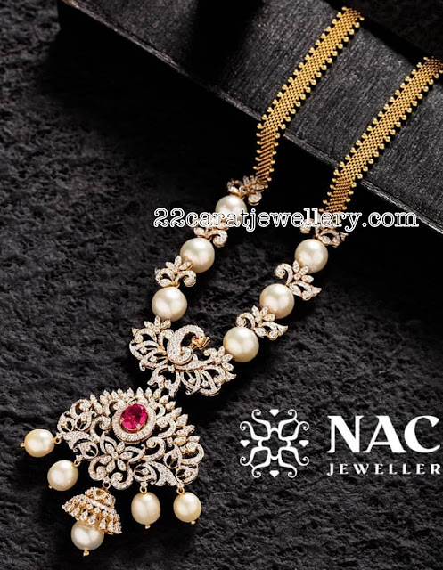 South Sea Pearls Diamonds Set by Nac Jewellers