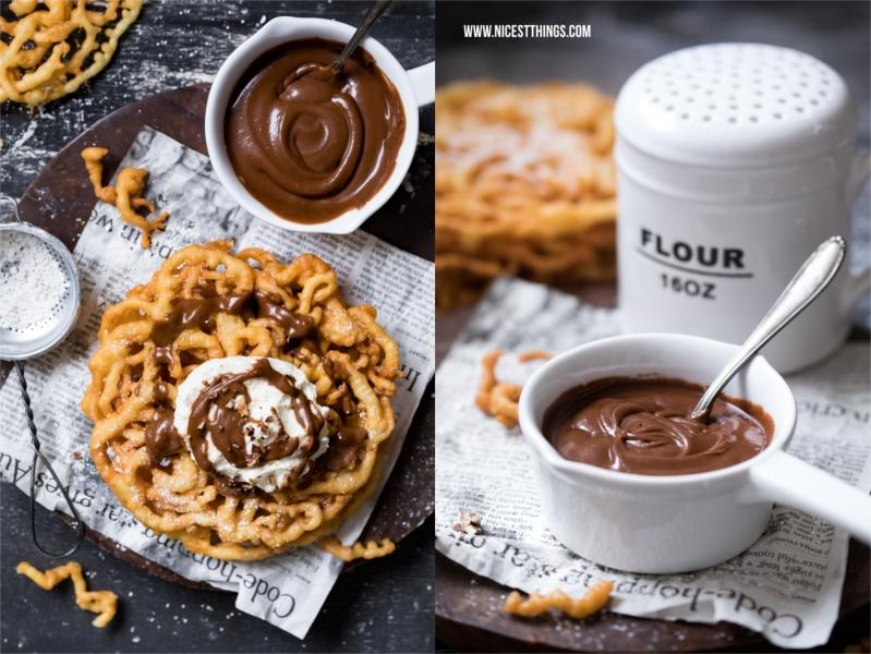 Strauben mit Bourbon Schokoladen Sauce und Ahornsirup Sahne