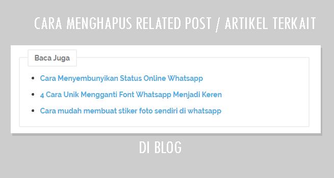 kegunaan menghapus artikel terkait adalah artikel blog menjadi relevan karena artikel terkait adalah secara otomatis