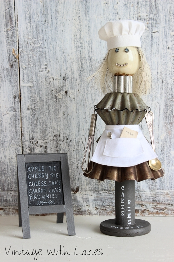 Found Object Sculpture: Pastry Chef Abby Sugarbaker by Vintage with Laces