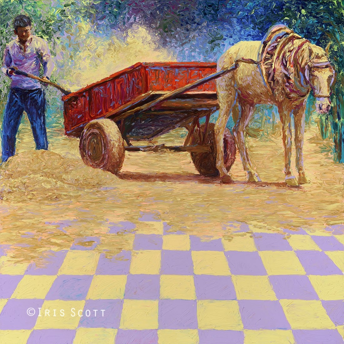 04-Dusty-Horse-Cart-Iris-Scott-Finger-Painting-Fine-Art-www-designstack-co