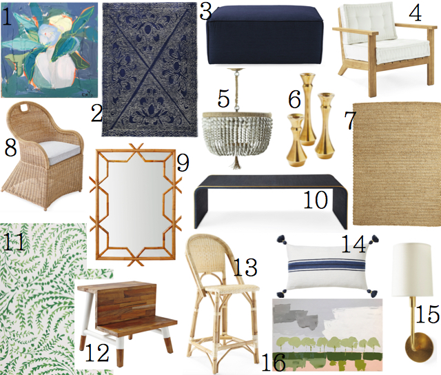 a dark patterned rug to hide messes and looks so pretty 3 a tailored ottoman 4 outdoor chic teak chairs 5