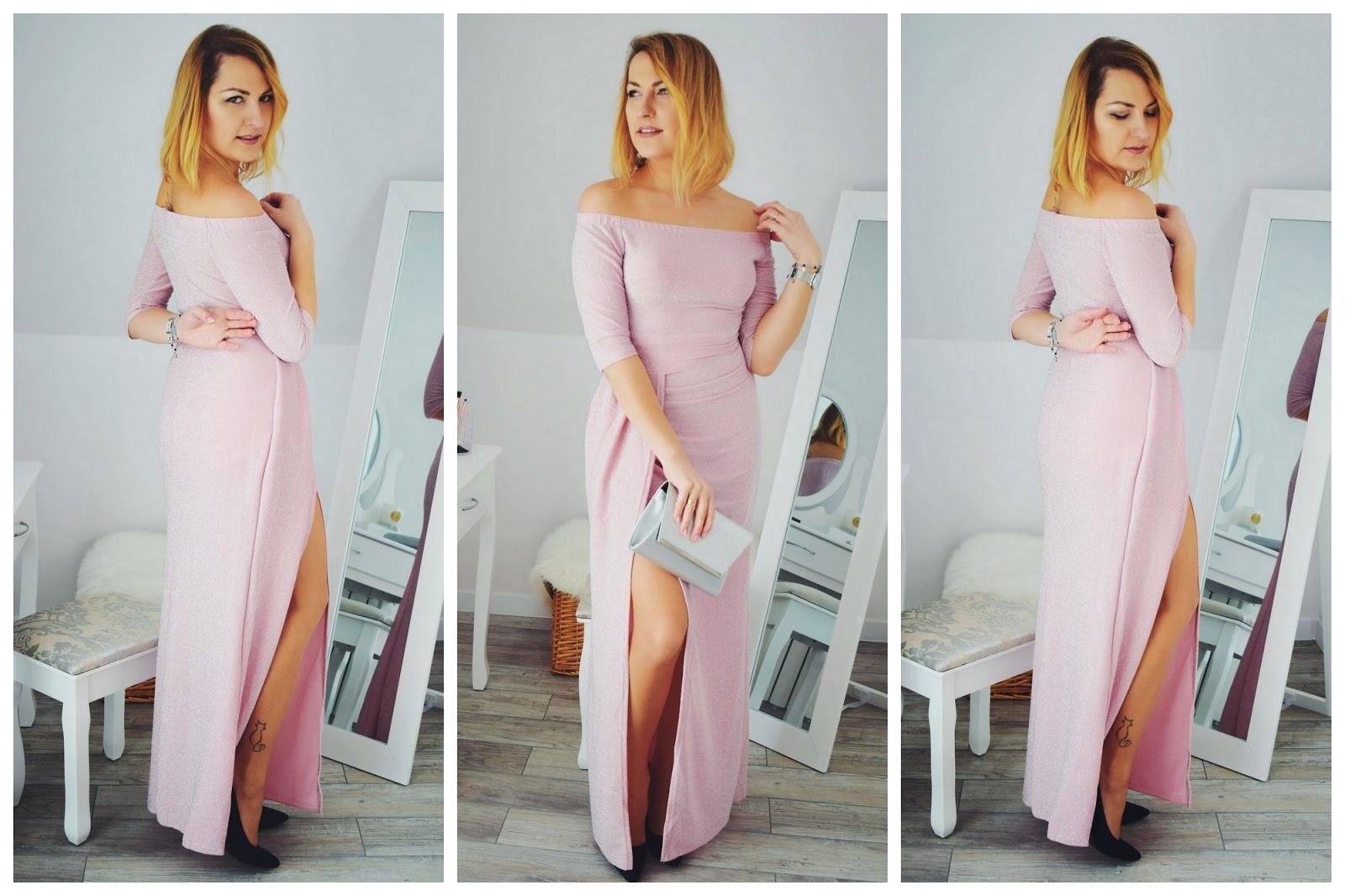 Sukienka maxi w kolorze pudrowego różu