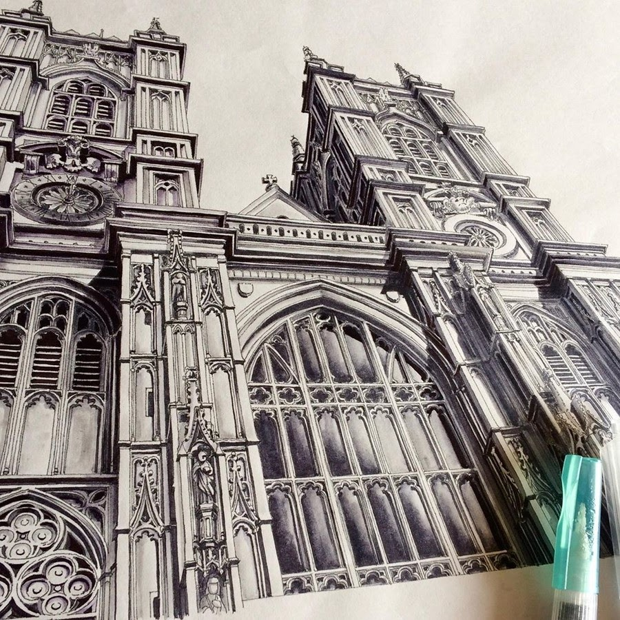 01-Westminster-Abbey-London-Rihiko-Architectural-Travel-Drawings-and-Painting-www-designstack-co