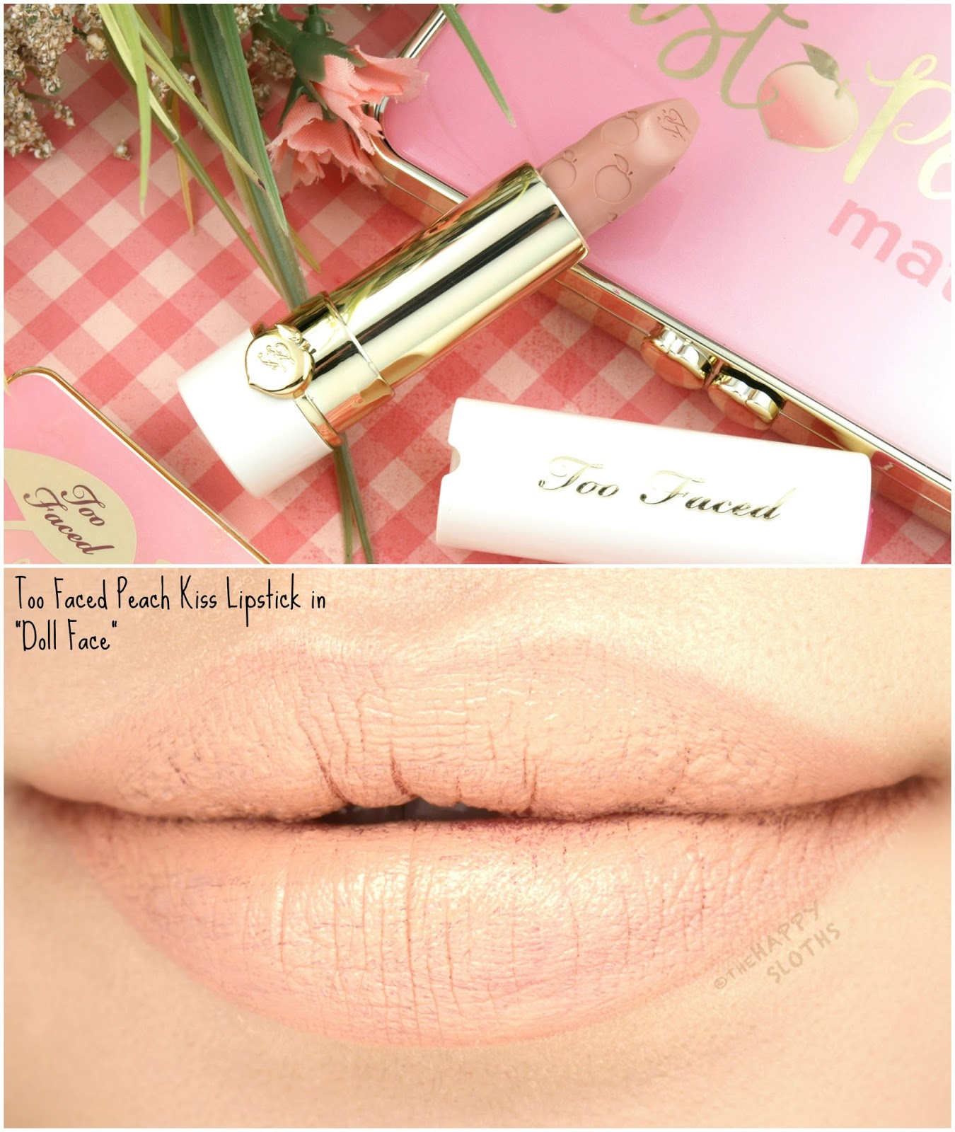 "Too Faced Peach Kiss Moisture Matte Long Wear Lipstick in ""Doll Face"": Review and Swatches"