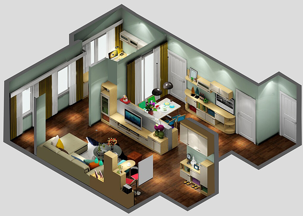 1%2B3D-balcony-living-dining-room-layout 35 Sky View 4D American House Plan Styles Interior